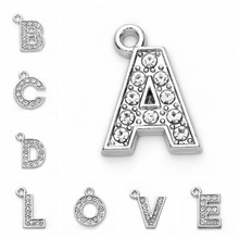 10pcs Crystal 26 A-Z Letter Initial Alphabet Pendant Charms DIY Jewelry Making Jewelry Finding Rhodium Color(China)