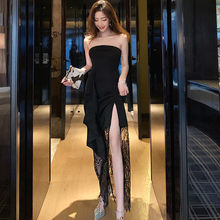 Real shot 2020 new fashion ladies elegant retro sexy tube top dress black lace strapless was thin Slim cut open bottoming dress(China)