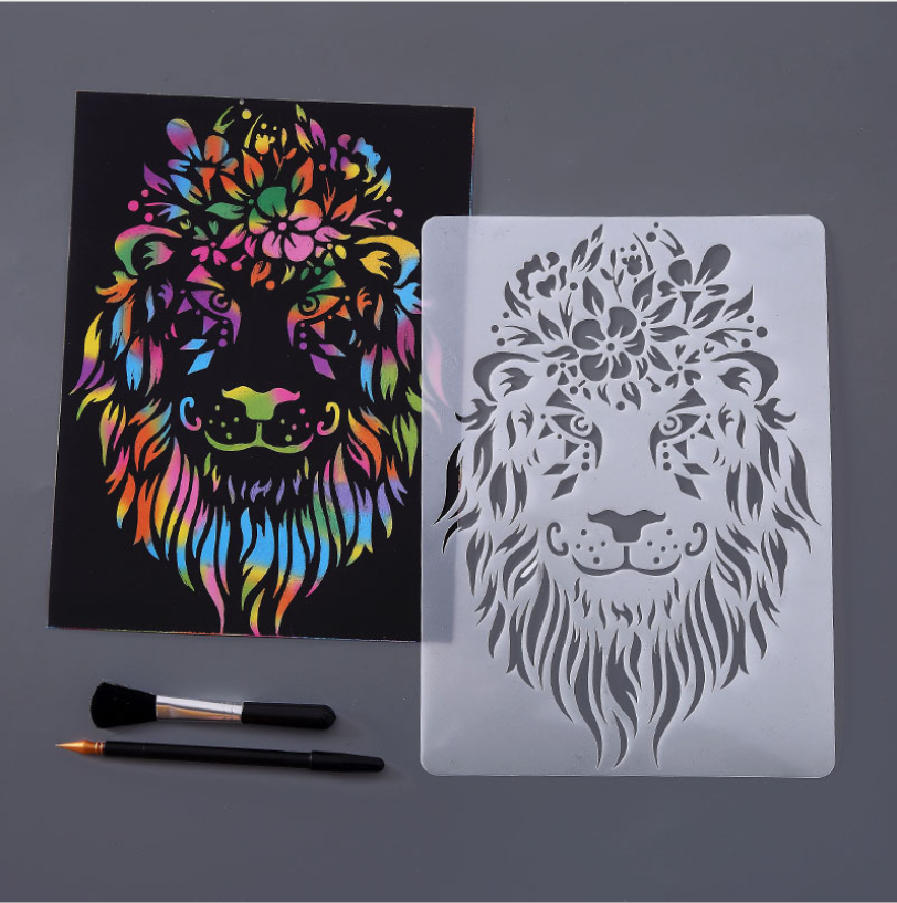 A4 29 * 21cm Creative Animal Lion DIY Stencil Wall Painting Scrapbook Coloring Photo Album Decorative Paper Card Template