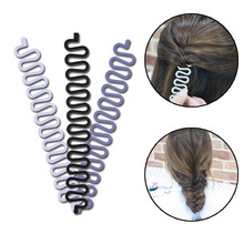купить Fashion Women Hair Braiding Tool Braider Roller Hook With Magic Hair Twist Styling Bun Maker Hair Band Accessories дешево
