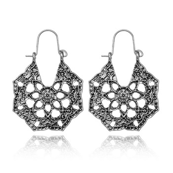 Amazon New Supply Retro Fashion National Style Pierced Engraved Pattern Flower Open Earrings Ear Pendant image