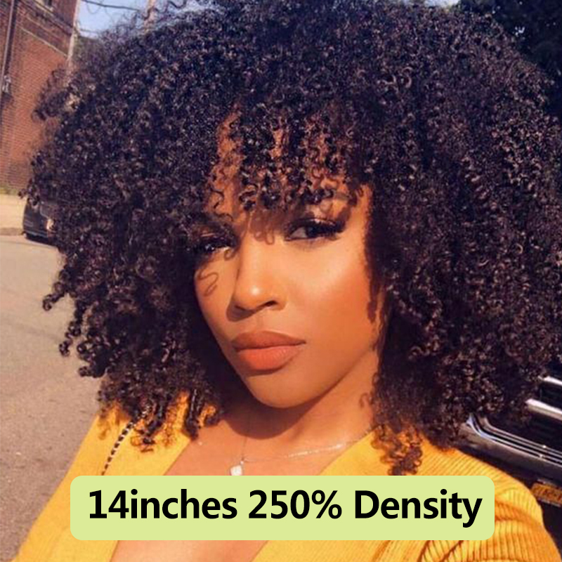 Dolago Human-Hair-Wigs Bangs Short Bob Lace-Frontal Curly Afro Kinky 250-Density Black