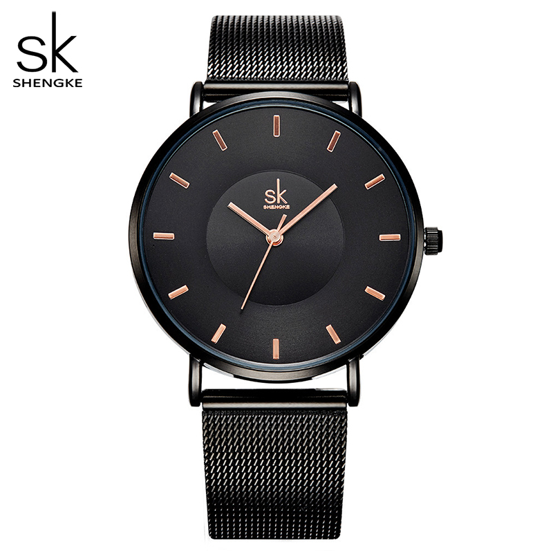 Shengke Fashion Black Women Watches 2017 High Quality Ultra Thin Quartz Watch Woman Elegant Dress Ladies Watch Montre Femme SK