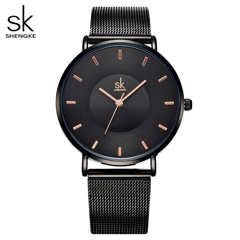 Shengke Fashion Black Women Watches 2017 High Quality Ultra Thin Quartz Watch Woman Elegant Dress Ladies Watch Montre Femme SK