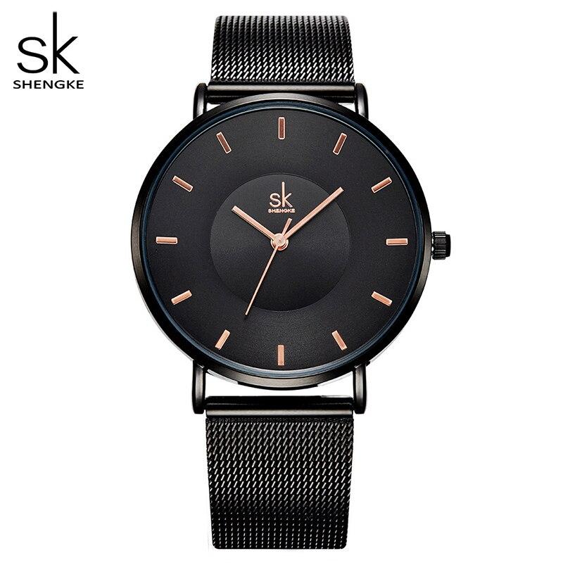 Shengke mode noir femmes montres 2017 haute qualité Ultra mince Quartz Montre Femme robe élégante dames Montre Femme SK
