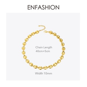 Image 4 - ENFASHION Punk Coffee Beans Link Chain Choker Necklace Women Stainless Steel Gold Color Hip Hop Rock Necklaces Men Jewelry P3022