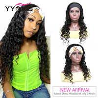 YYong Hair-Diadema protectora para mujer, peluca y bufanda 100% cabello humano suelto de ondas profundas, peluca de red completa sin pegamento