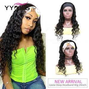 YYong Hair Newest Protective Headband Scarf Wig 100% Human Hair Loose Deep Wave Full Machine Net Wig For Women Glueless