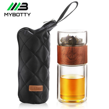 MYBOTTY 200Ml Glass Tea Water Bottle With Bag Tea Filter Separation Infuser Tumbler Double Tea Bottle Portable Drinkware Glass