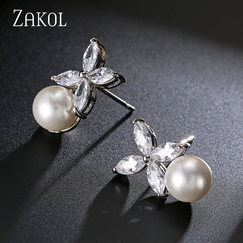 ZAKOL Hot Sale White Color Crystal Zircon Flower Stud Earrings Imitation Pearl Wedding Jewelry Boucles d'oreilles FSEP525