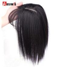AOSI женские удлинители волос на зажиме, 3 зажима в верхней части, натуральные прямые черные коричневые синтетические волосы с челкой, искусст...