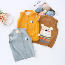 Spring Children Vest Boys Pullover O-neck Waistcoat Girls Kids Knitted School Uniform Winter Baby Clothes Sleeveless Sweaters