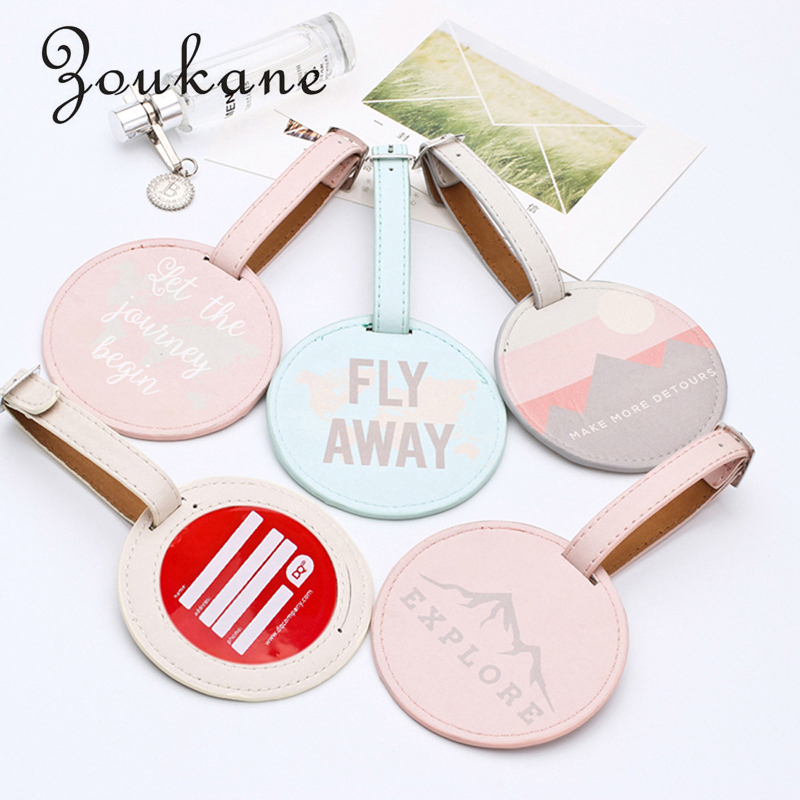 Zoukane 2 Pcs/lot PU Leather Round Suitcase Luggage Tag Label Bag Pendant Handbag Travel Accessories Name ID Address Tags LT01