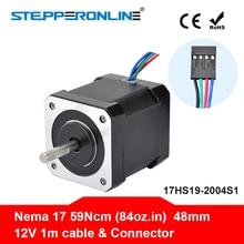 Nema 17(Национальная ассоциация владельцев электротехнических предприятий) шаговый двигатель 48 мм 42bygh шаговый двигатель 2A(17HS19-2004S1) Мотор 4-свинец кабель длиной 1 м для 3D-принтеры CNC XYZ двигатель