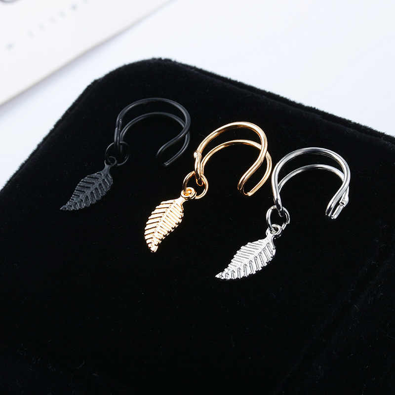 1pc Punk Rock Geometric U shape Ear Clip Cuff Wrap Earrings No piercing-Clip leaf Pattern earrings Statement jewelry for women