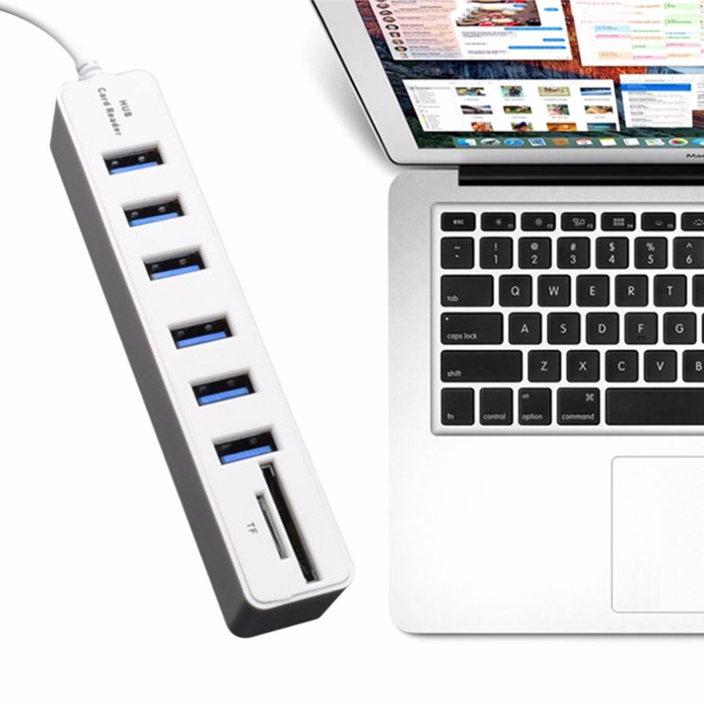 USB 2.0 Hub 6 Ports High Speed 480 Mbps TF/SD Card Reader USB Splitter For PC Laptop Computer Peripherals Accessories