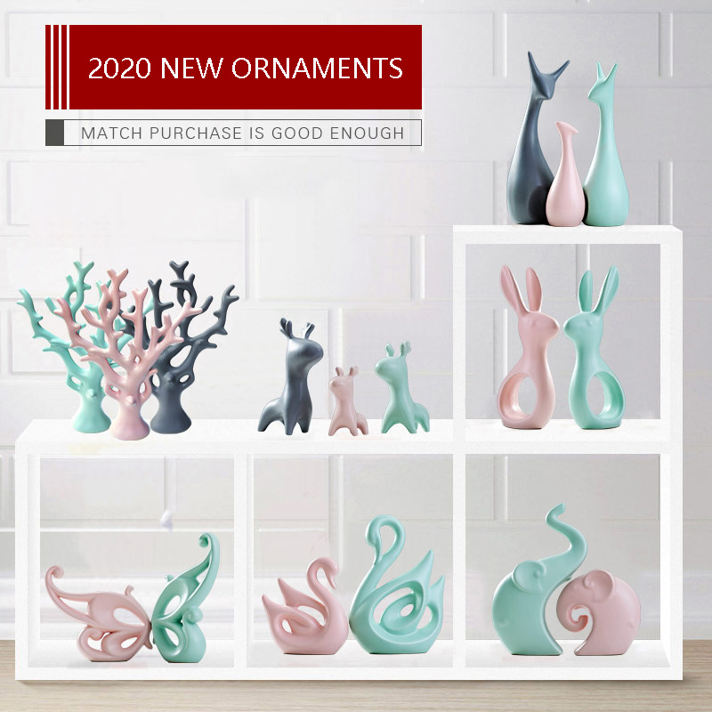 2020 Upgrades Nordic creative home decoration accessories living room wedding ornaments ceramic Animal elephant Deer furnishings