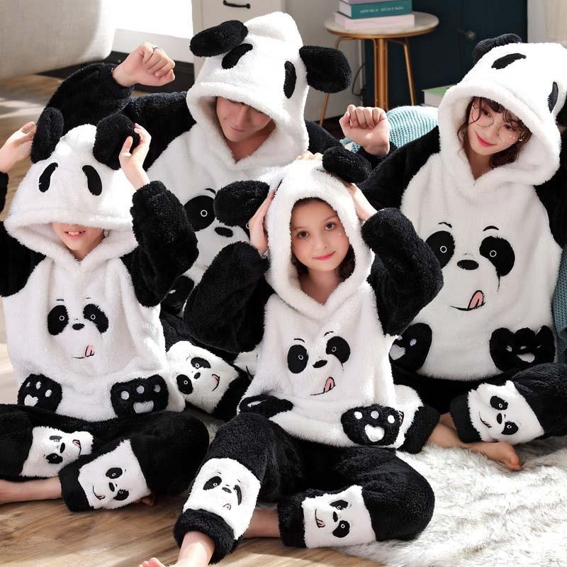 Unisex Adult Parent-child Pajamas Cute Animal Cartoon Men Pajamas Set  Winter Family Home Clothes Flannel Hooded Warm Sleepwear