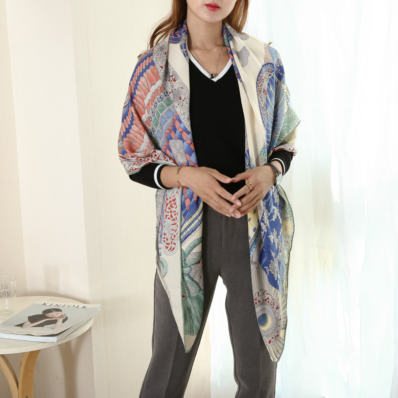 Luxury Warrior Armor Pattern Warm Cashmere Silk Scarf Women Coat Wraps Headscarf Shawl Scarves Poncho Foulard 135 135cm in Women 39 s Scarves from Apparel Accessories