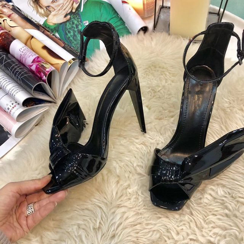 Summer Sexy Women Butterfly Knot Sandals Patent Leather Spike Thin High Heels Peep Toe Bowtie  Ankle Strap Sandalias
