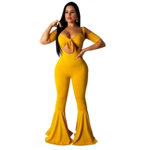 Strapless Outfits For Women Backless Solid Color Bib Overalls Bell Bottom Pants Two Piece Set Ruffles Bow Crop Top Tube Sexy