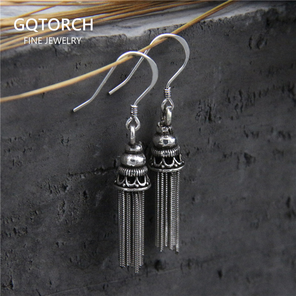 Real 925 Sterling Silver Tassel Dangle Earrings For Women Anti Allergy Vitnage Earrings Long Thailand Fine Jewelry