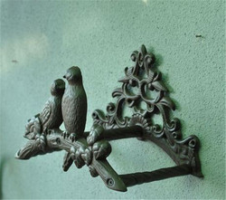 Hose Holder Cast Iron Birds on Tree Decorative Pipe Reel Rope Hanger Garden Hose Reel Wall Mounted Hose Organizer Rust Antique