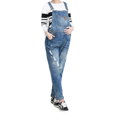 New Style Pregnant Women Denim Bib Bellies Trousers Autumn and Winter Jeans Strap