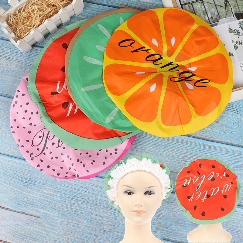 1PC Fruit Color Optional Waterproof Shower Cap Thicken Elastic Bath Hat Bathing Cap For Women Hair Salon Bathroom Products
