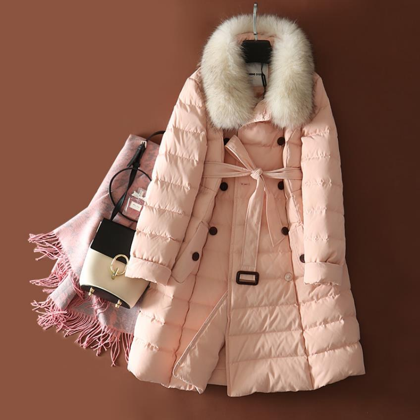 Winter big sale Women fashion big real fur parkas warm 90% White Duck   Down     coat   Jacket double breasted real fur Parkas F188