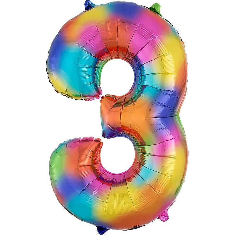 """32/"""" pouces géant anniversaire foil numéro Ballon Rainbow Gradient Couleur Mariage Fête"""