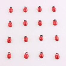 50 pçs joaninha adesivos páscoa scrapbooking botões adorável vermelho pequenos botões de madeira para costura vestuário suprimentos acessório e