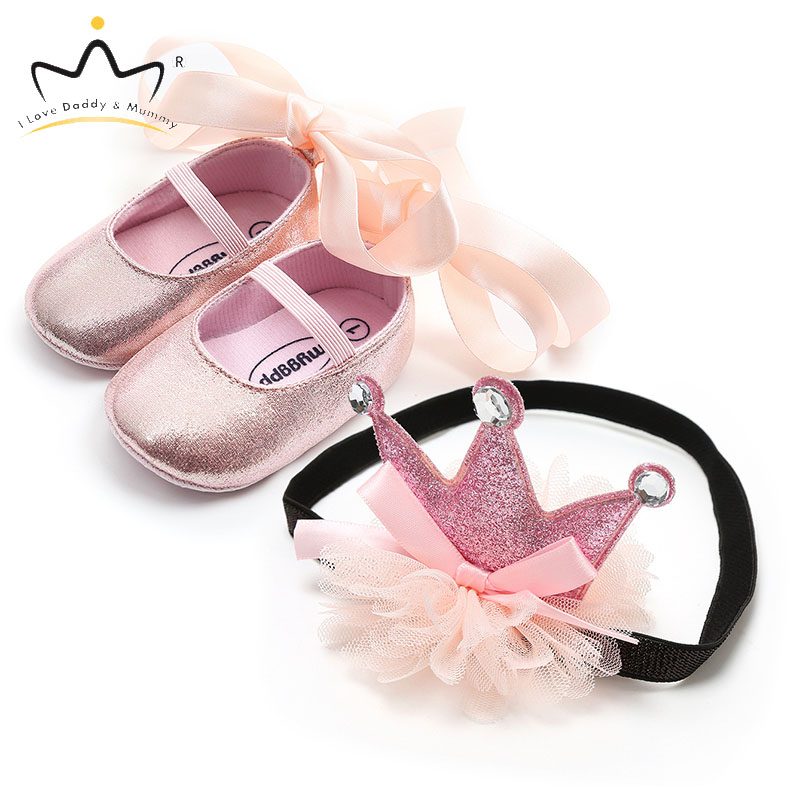 New Lace Bowknot Pink Crown Princess Newborn Baby Shoes Headband Set Soft Soled Baby Girl Shoes First Walkers Bows Girls Gift