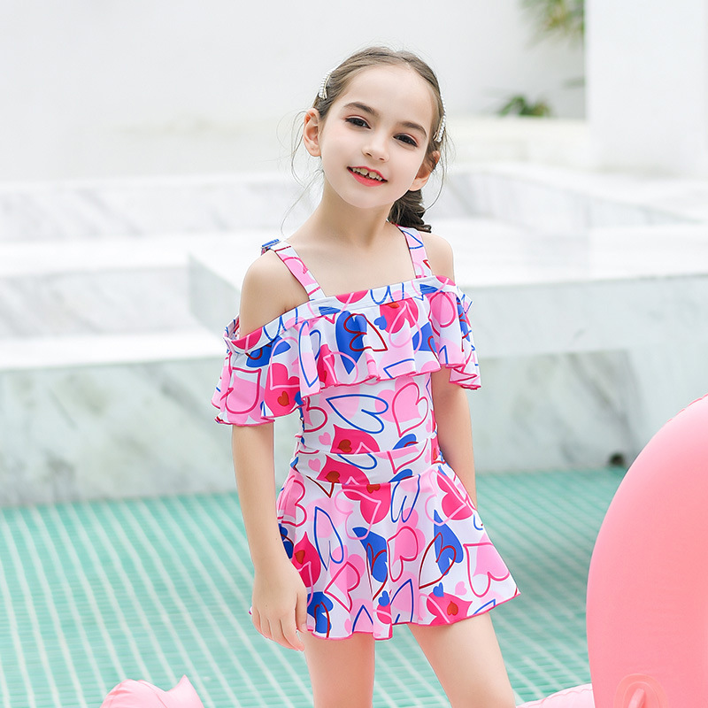 2019 New Style Hot Sales KID'S Swimwear Dress-Strap Adjustable Off-Shoulder Floral Hipster GIRL'S Swimsuit