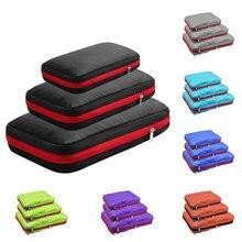 Двухслойные компрессионные упаковочные кубики для путешествий, органайзер для багажа, водонепроницаемый упаковочный кубик, 7 цветов, большие, средние и маленькие, 3 комплекта