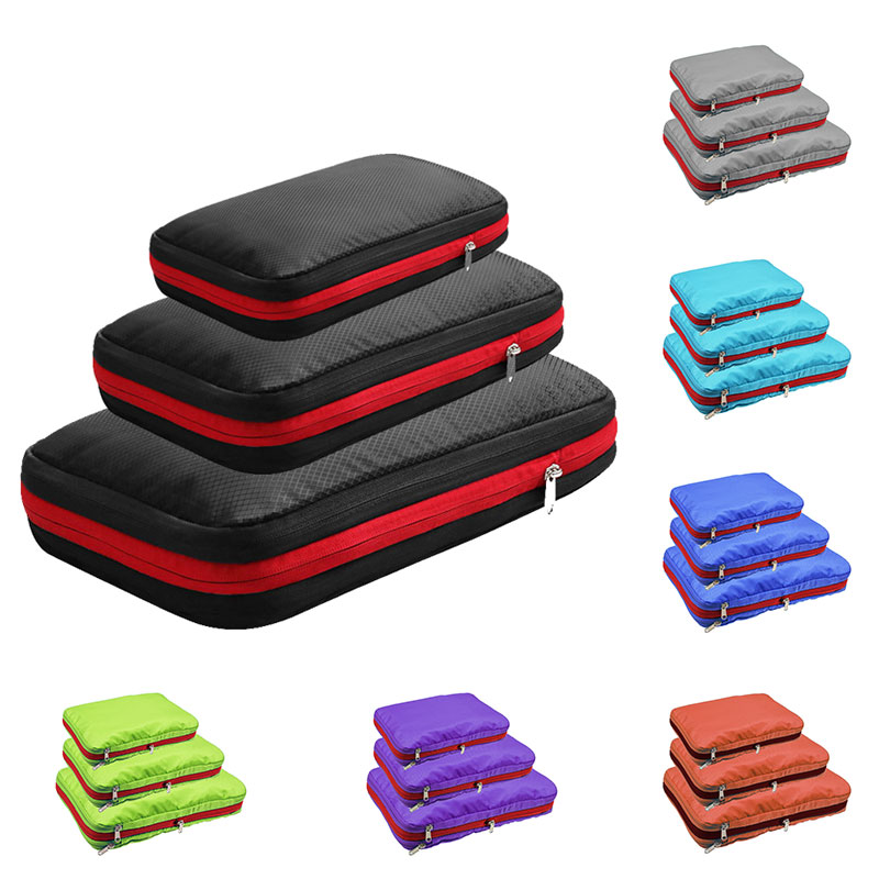 Packing Cubes Travel Bag Double Layer Compression Luggage Organizer Waterproof Packing Cube 7 Colors Large Medium Small 3 Sets