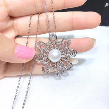 925 Sterling Silver Pendant Settings Component Findings Women's Parts for Oyster Edison Pearl Coral Jade Beads Stones