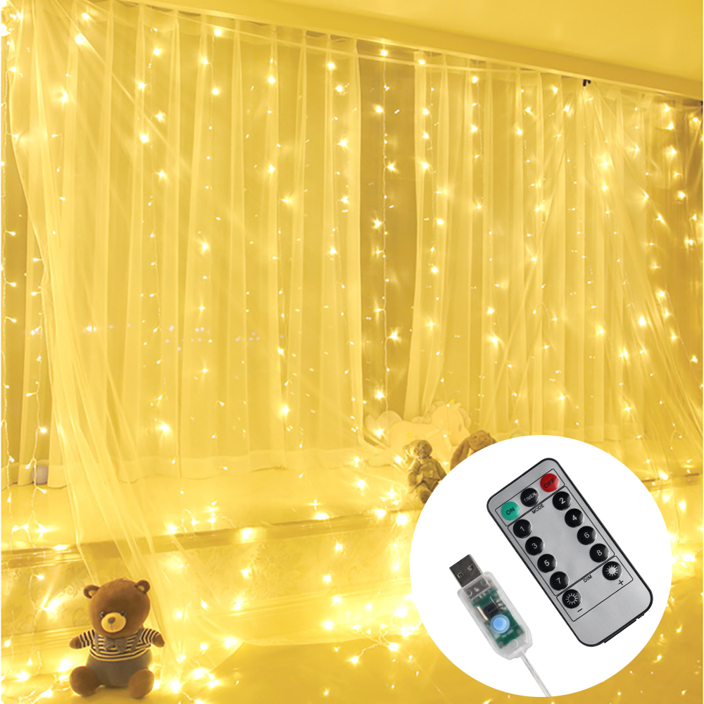 3M X 3M 300 LED Copper Wire Curtain Lights USB With Remote Fairy Lights String Garland IP55 For Wedding Party Curtain Decoration