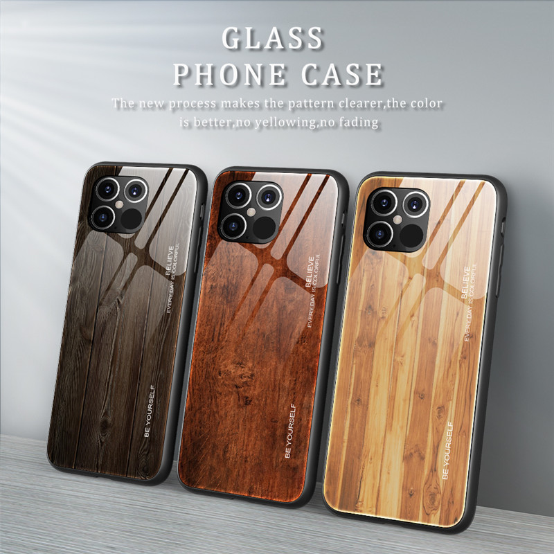 New Luxury Liquid Silicone Wood Grain Wooden Case For iPhone 12 Pro
