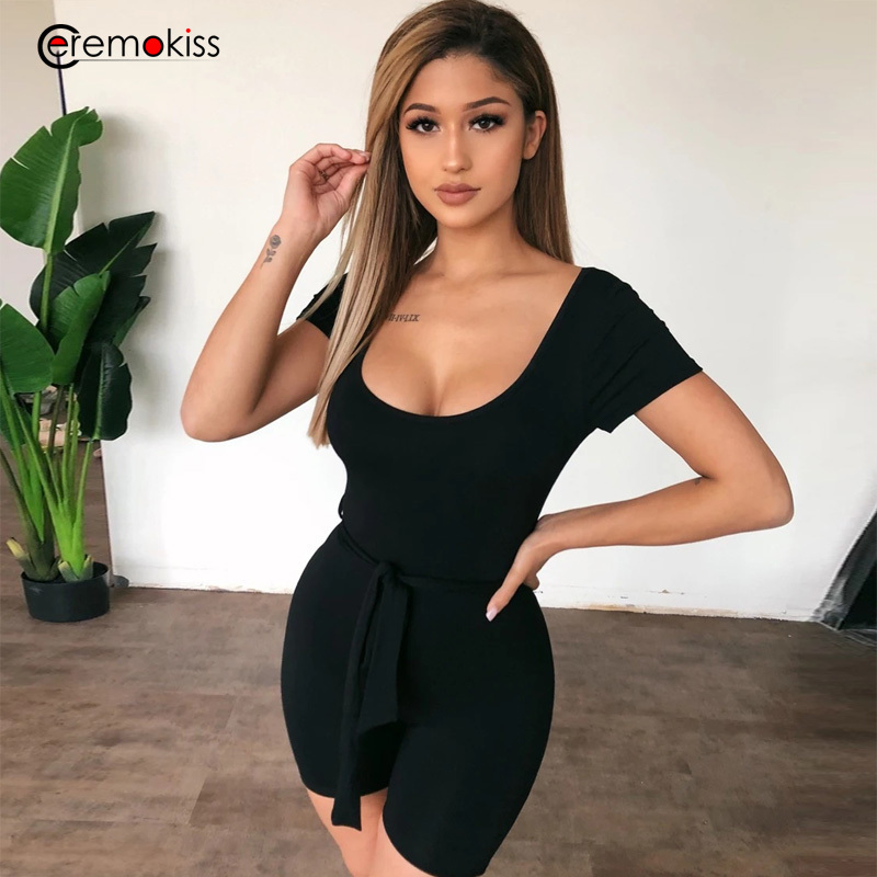 Ceremokiss Summer Sexy 2020 Women Playsuits Rompers Black Sashes Backless Bodycon Jumpsuits Black Club Party Women Suits