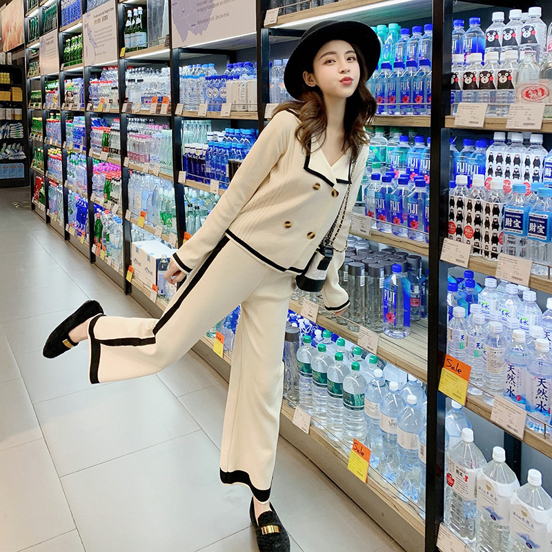 2019 Royal Sister Knitted Pendant Sense Loose Pants Set Female Spring Elegant Slimming Casual Fashion Piece F5788
