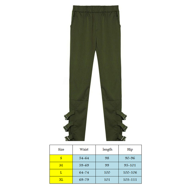 Women Solid Bandage Elastic Waist Pencil Pants Autumn All-match Trousers