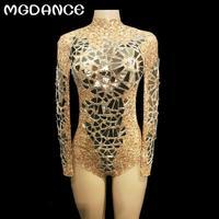 New Women Sexy Gold Mesh Bodysuit Full Golden Sparkling Mirrors Jumpsuit Nightclub Party Stage Wear Singer Dance Bodysuit