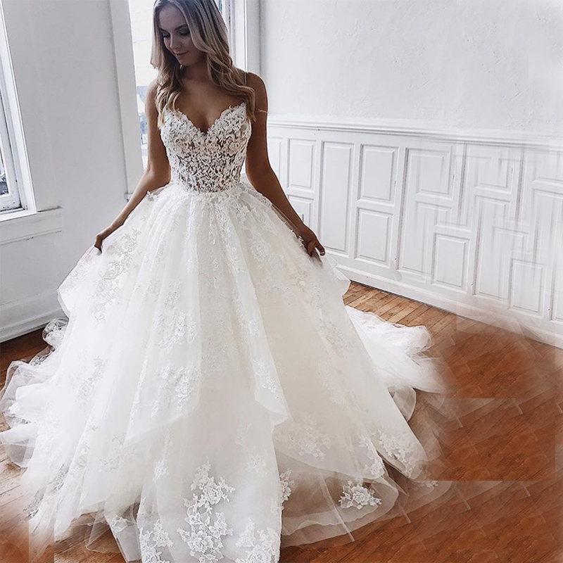 Eightale Wedding Dress Spaghetti Strap Appliques Lace Wedding Gowns Custom Made Court Train Tulle Bride Dresses Vestido Noiva