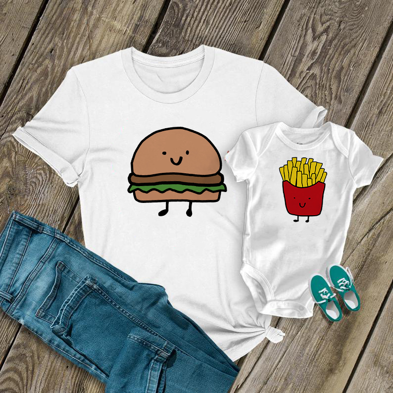 1PC Mom Baby Matching Clothes New Mom Shirt Perfect Combination Hamburger French Fries Tops Funny Mom Baby T-Shirt