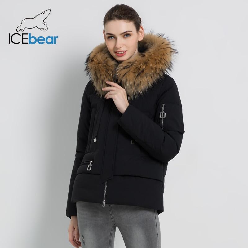 ICEbear 2019 nouveau hiver fourrure col veste femme de haute qualité chaud manteau élégant femme Parkas marque vêtements GWD19062I