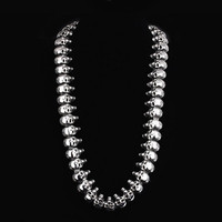 MN215 Stainless Steel Jewlery Men Gift Jewelry Necklace Skull Skeleton Black Enamel Pendant ,Fahion, modern wholesale Gift Men