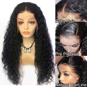 Image 2 - Wet and Wavy Wig 360 lace frontal wig pre plucked with baby hair Water Wave Lace Front Human Hair Wigs Curly Human Hair Wig 150%