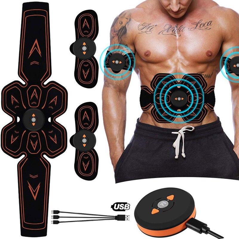 Стимулятор мышц брюшной мускулер Электростимуляция Электро стимулятор ABS EMS домашний гимнастический массаж живота ног зарядка через USB
