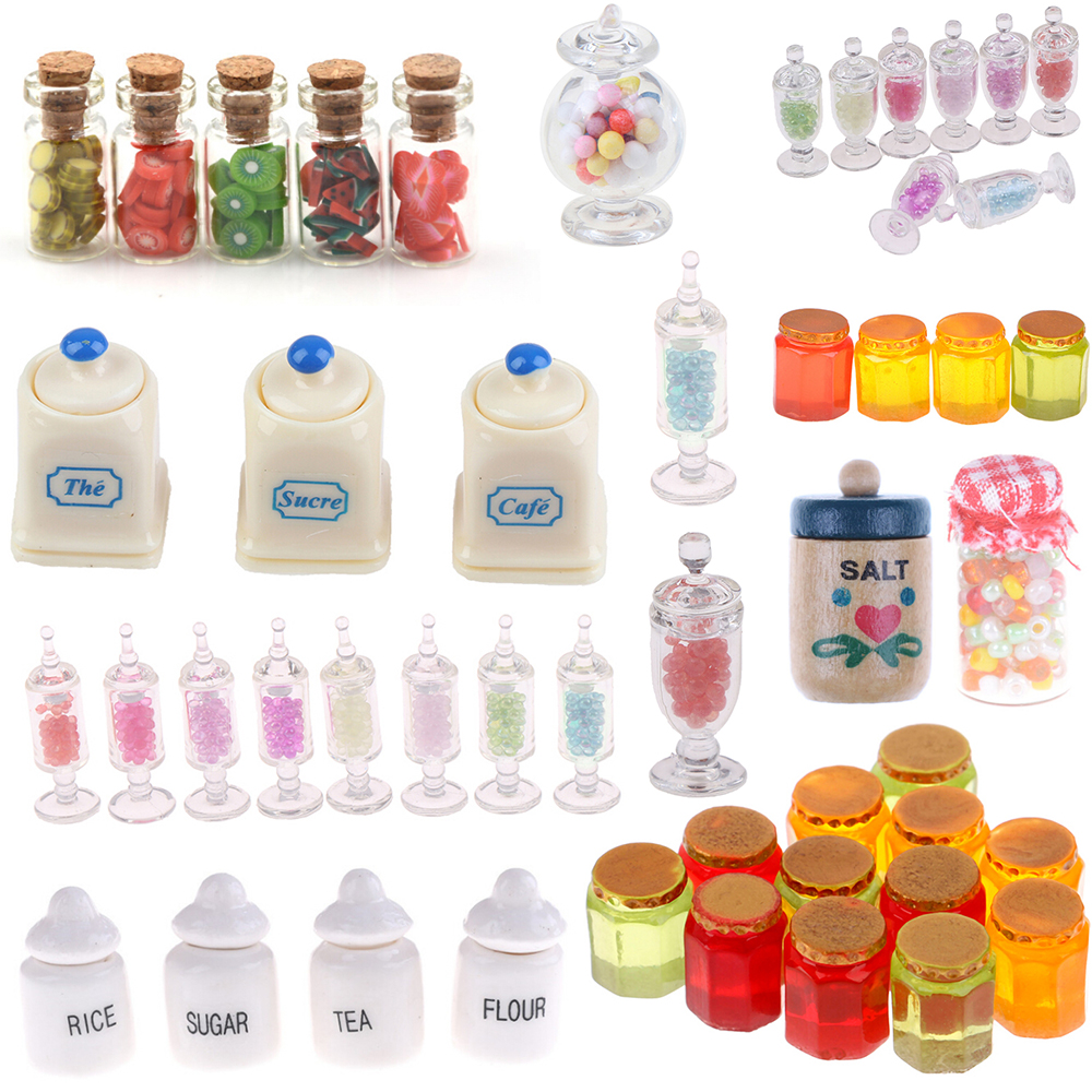 1:12 Dollhouse Miniatuer Miniature Furniture Toys Dried Food Play Tea Salt Jar Glass Candy For Dolls Home Office Party Decor Toy